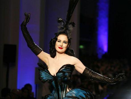 VINTAGE: Burlesque artist Dita Von Teese in Jean-Paul Gaultier haute couture. Photo: AP/Zacharie Scheurer