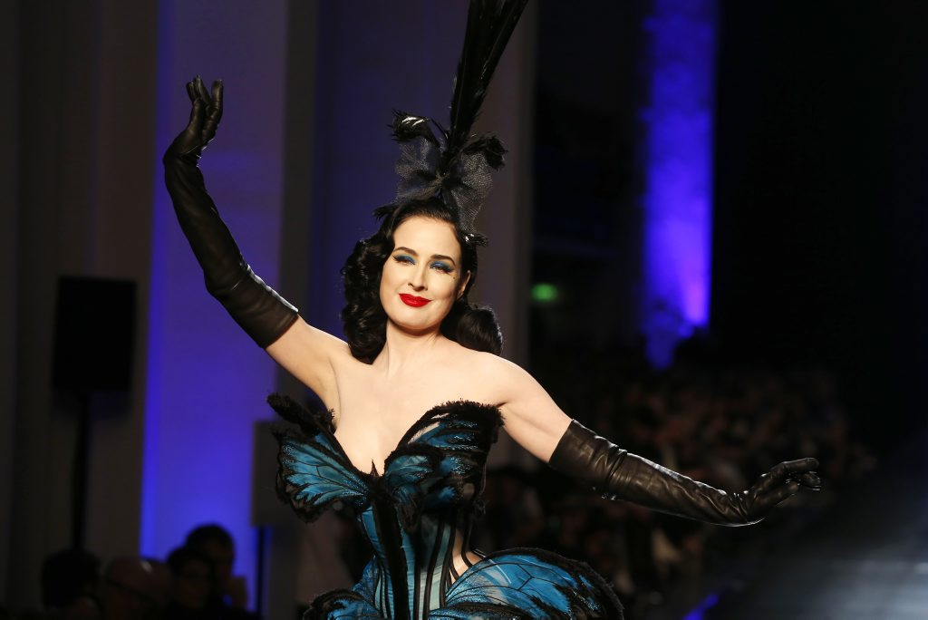 VINTAGE: Burlesque artist Dita Von Teese in Jean-Paul Gaultier haute couture. Photo: AP/Zacharie Scheurer