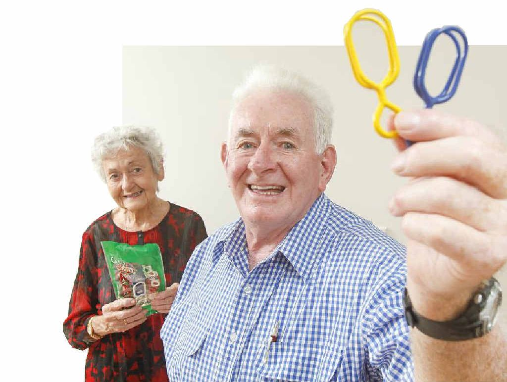 STRONG: Fern and Don Adams, of South Grafton, with their pegs. Photo: Adam Hourigan