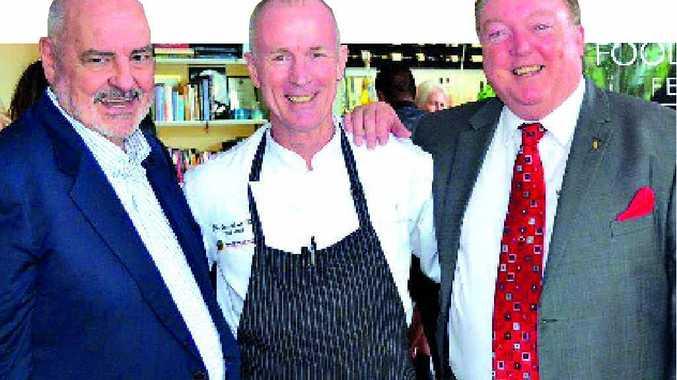 OVER THE MOON: Jim Berardo, David Pugh from Restaurant Two and member for Noosa Glen Elmes.