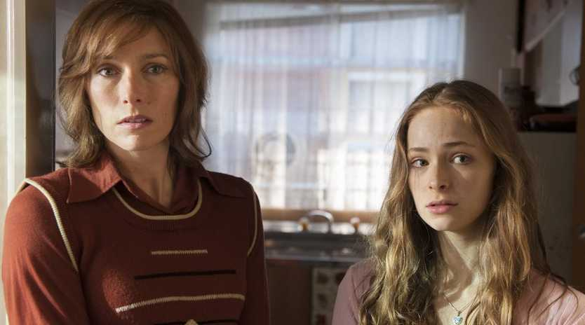 Claudia Karvan, left, and Ashleigh Cummings in a scene from the TV series Puberty Blues. Supplied by Network Ten.