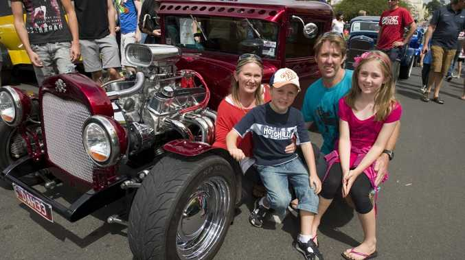Jo and Ross Riddell with their kids Alex and Maddison and a 1933 Chev.