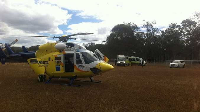 The Sunshine Coast based RACQ CareFlight Rescue helicopter flew to the scene where its flight doctor and intensive care flight paramedic treated the man for spinal complications.