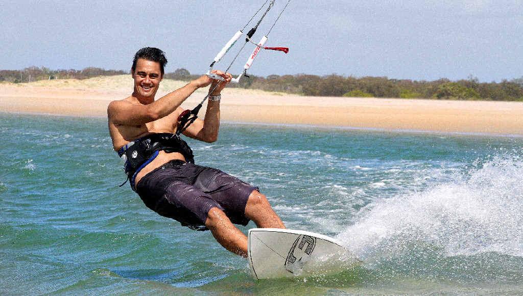 KITE SURFING: Australian Kite surfing originator Matt Colefax in action at Elliott Heads Beach.