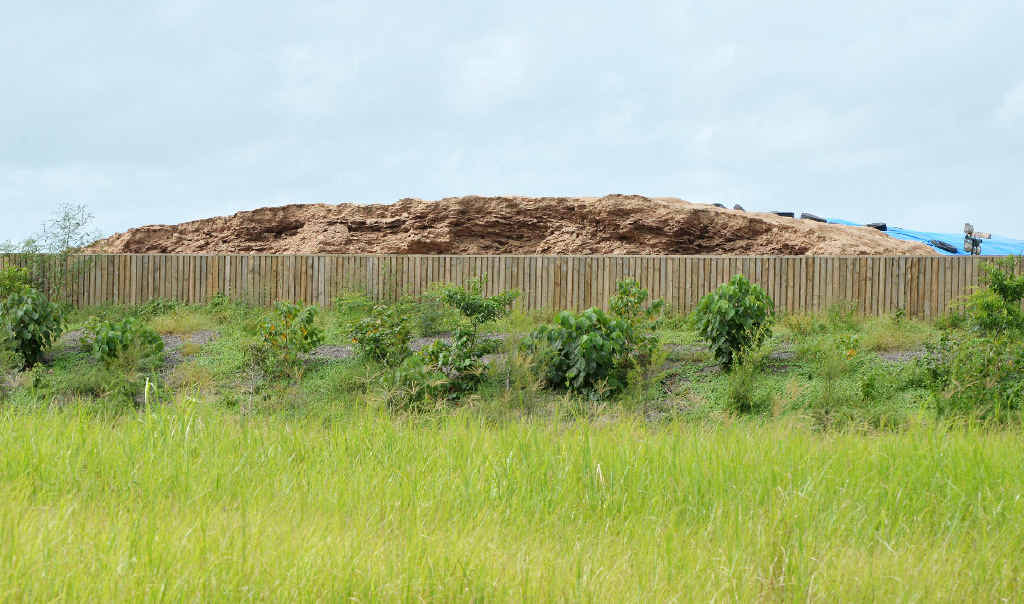 Residents say the bagasse pile at Marian blows fibres across properties and into houses.
