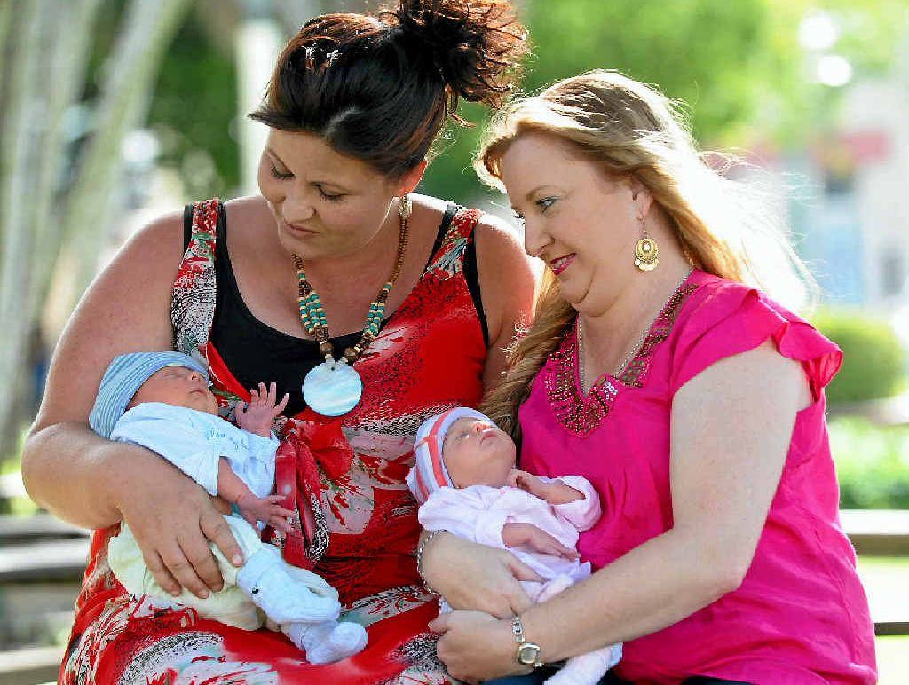 LOVING GIFT: Surrogate mother Emma Barwick and Merri Anderson with the twins.