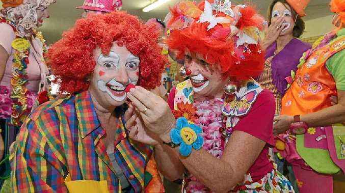 CLOWN CLASS: Polly Studiman gets some tips on clown behaviour from Flutter-Bye.