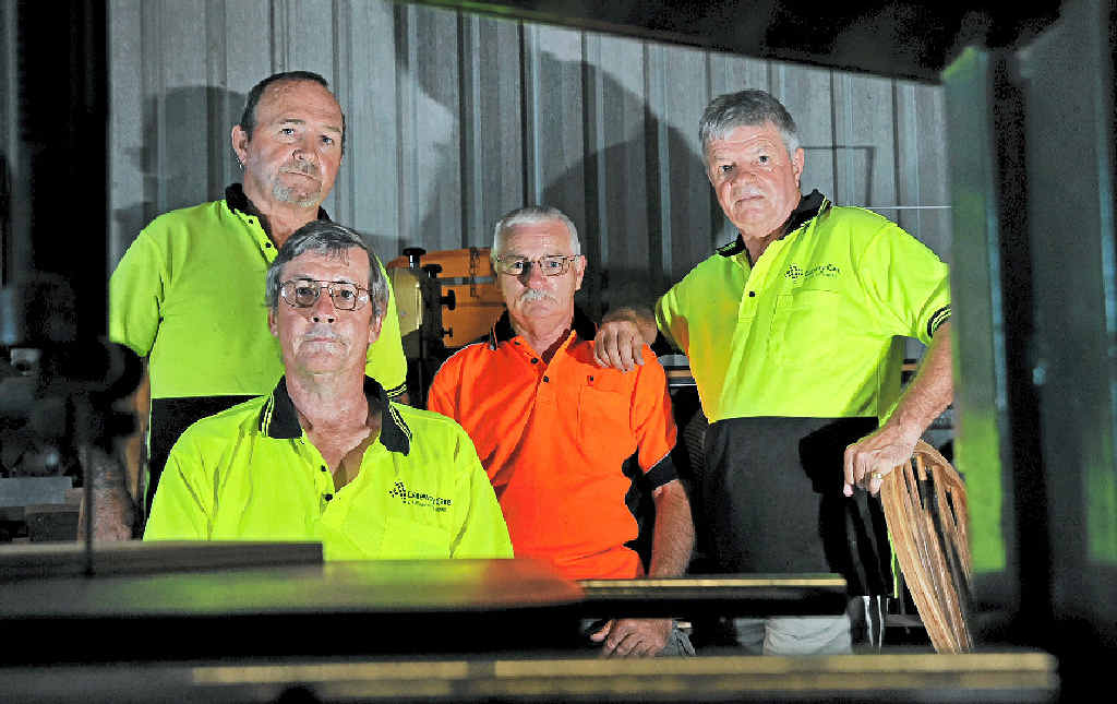 PLACE TO GO: Caloundra's Men's Shed has to find a new home as its current building is being sold. Unhappy Men's Shedders include (left) George Darby, Patrick Cleary, Colin Patterson and Howard Campbell.