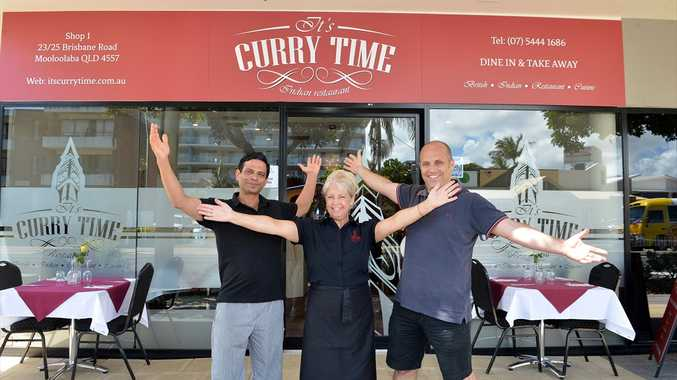 Andy and Angela Hall have opened 'It's Curry Time' in Mooloolaba with head chef Stephen Pereira.