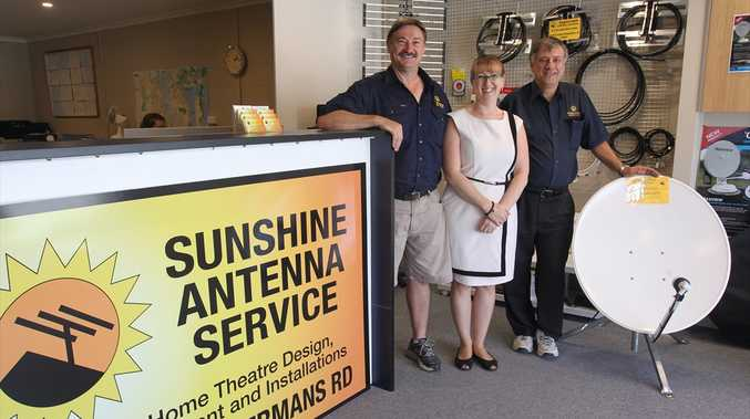 Owners of Sunshine Antenna Service, Phil and Mandy White, with business founder, George Dokic, who still works there.