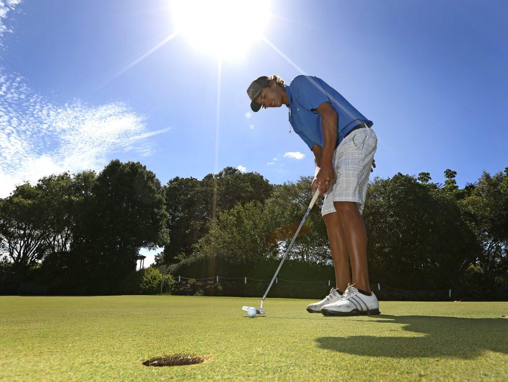Max Monneron a junior golfer at the Tweed/ Coolangatta Golf Course.
