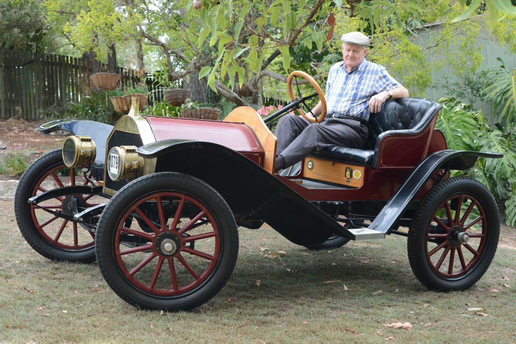 Image for sale: John Hoerlein with his 1910 Hupmobile that he restored 40 years ago.