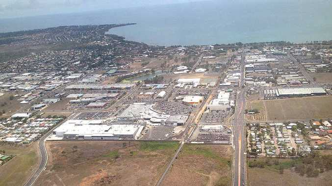 An aerial shot of work on the new Stockland Shopping Centre expansion in Hervey Bay.
