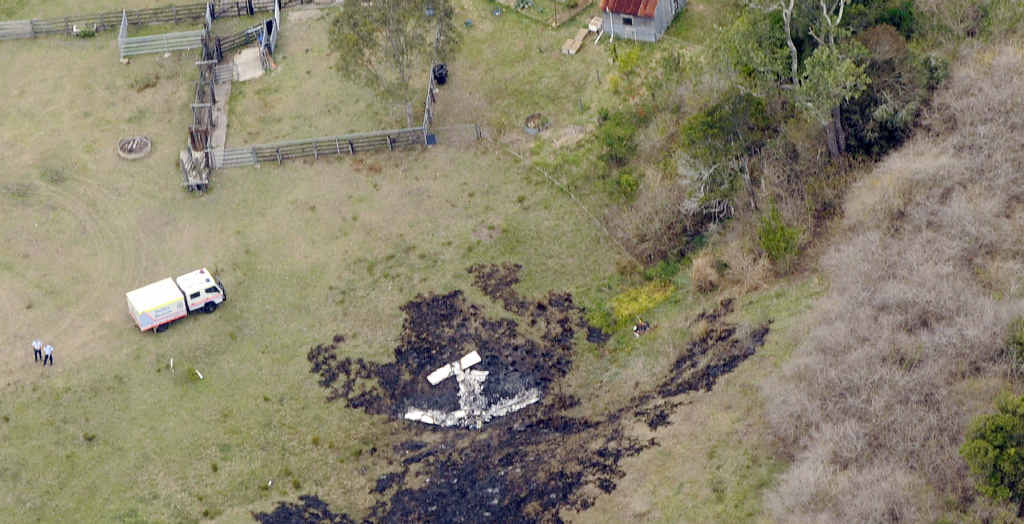 FATALITY: An aerial photo of the scene of a light airplane crash at South Gundurimba, south of Lismore, where two people died.