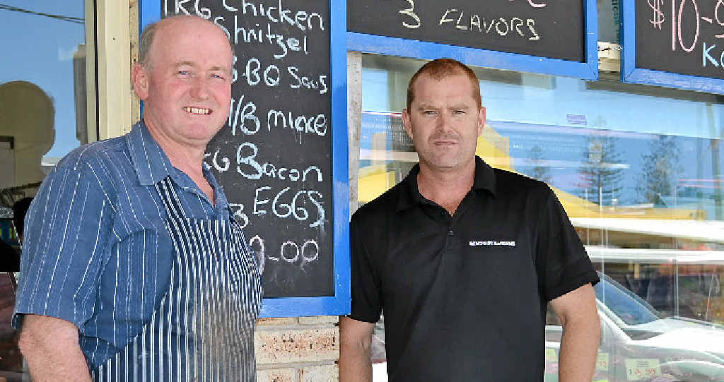 BANKING WOES: Business owners Mick Metcalf, of Metcalf Meats, and Coady Strong, of Beachside Bargains, say it is bad for business having to drive to Ballina to do their banking.
