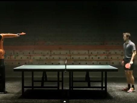 European table-tennis master Timo Boll prepares to take on the robot.