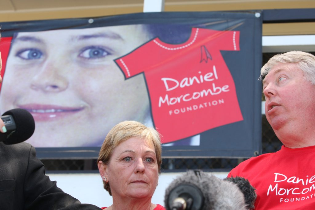 Bruce and Denise Morcombe talk to the media about the Daniel Morcombe Foundation's work.