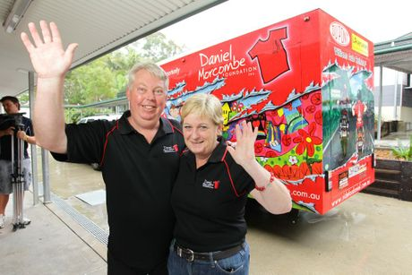 Bruce and Denise Morcombe start a Child Safety road trip of Queensland at Woombye State Primary School.
