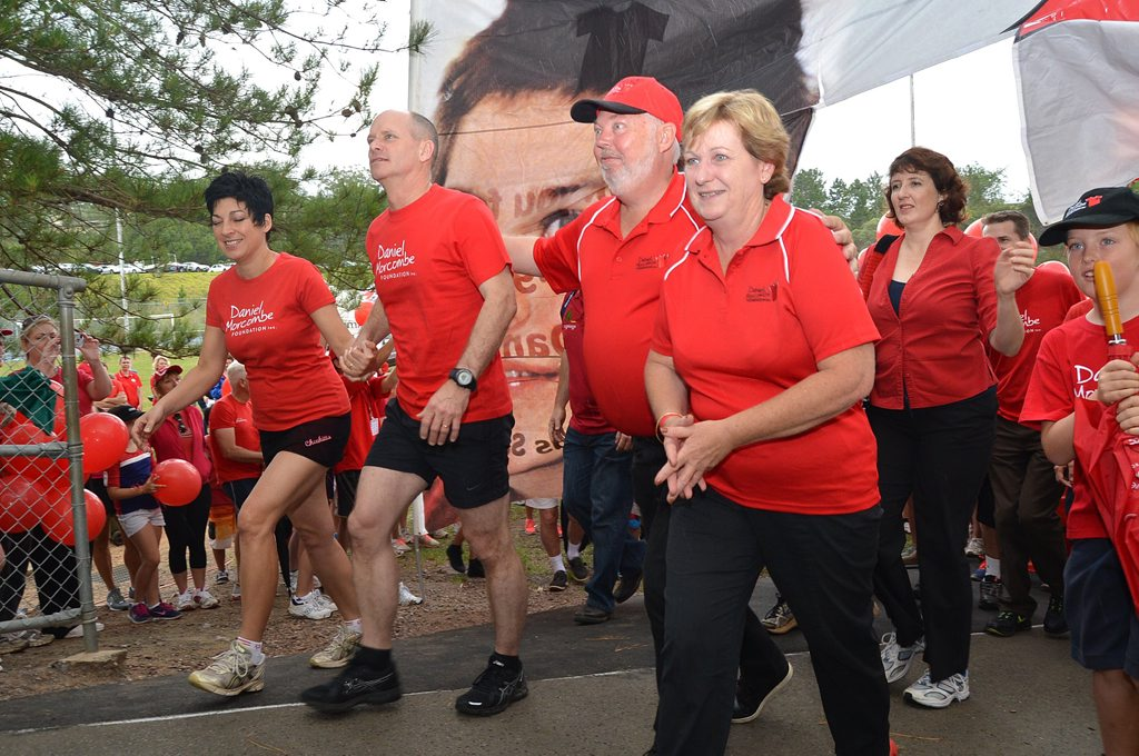 A large crowd gathered for the annual Walk For Daniel at Palmwoods. LIsa and Campbell Newman with Bruce and Denise Morcombe. Photo: Warren Lynam / Sunshine Coast Daily