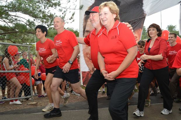 Bruce and Denise Morcombe on last year's Walk for Daniel with Premier Campbell Newman and local MP Fiona Simpson.
