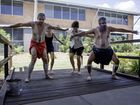Butchulla dancers (from left) Kobi Page, Maidie Page, Ashleigh Clarke-Gould and Mark Page perform at USQ Fraser Coast.