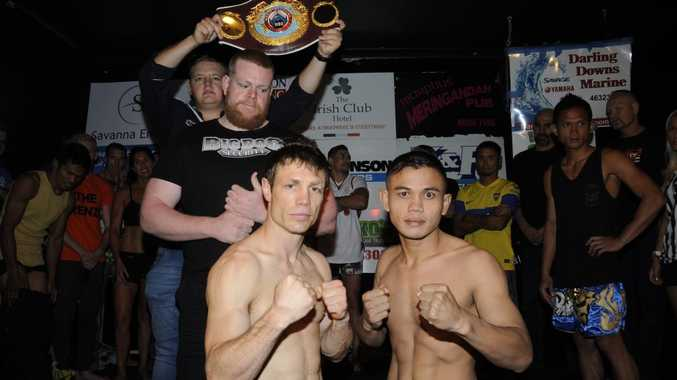 Michael Katsidis (left) and opponent Eddy Comaro meet at today's fight weigh-in.