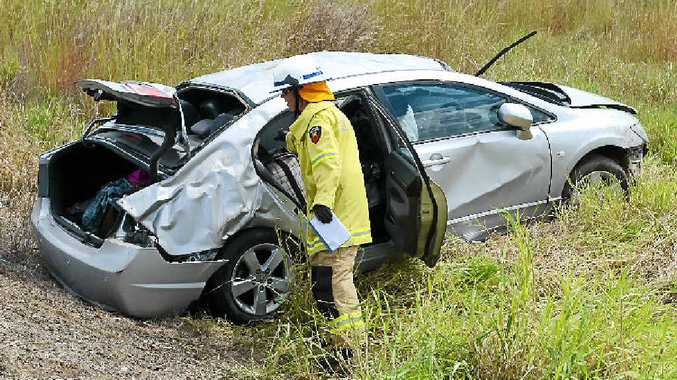 A Rockhampton couple survived this crash on the Mary Valley Hwy yesterday afternoon.