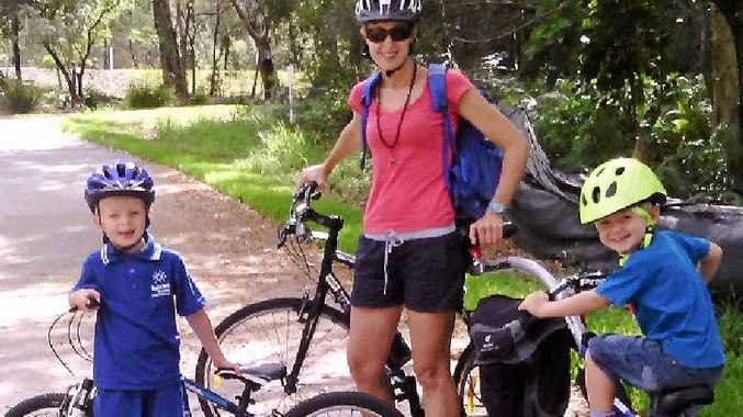 FUN AND FITNESS: Tracey Wyatt of Bike On plans to ride to school with sons Finn and Luca.