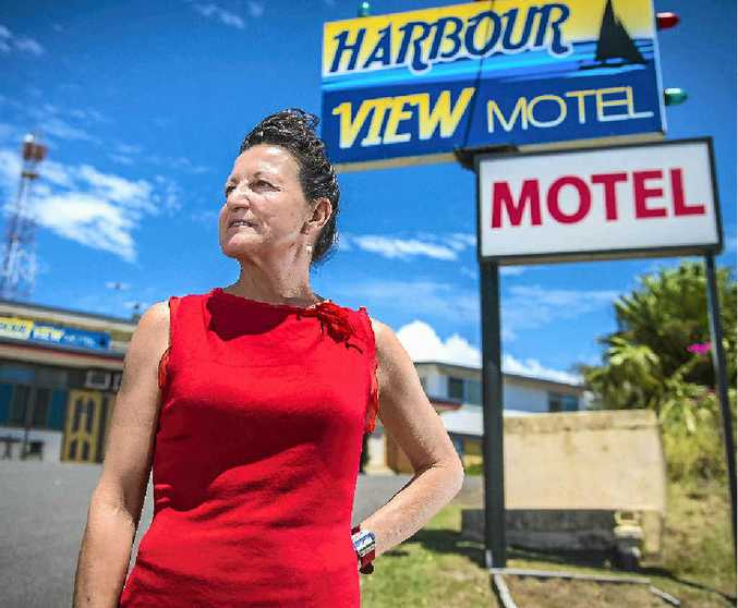 Harbour View Motel manager Yvonne Williams is pleased the business's new signage has arrived.