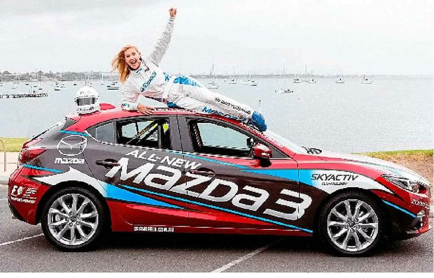 Catriona Rowntree is set for the Mazda3 celebrity challenge.