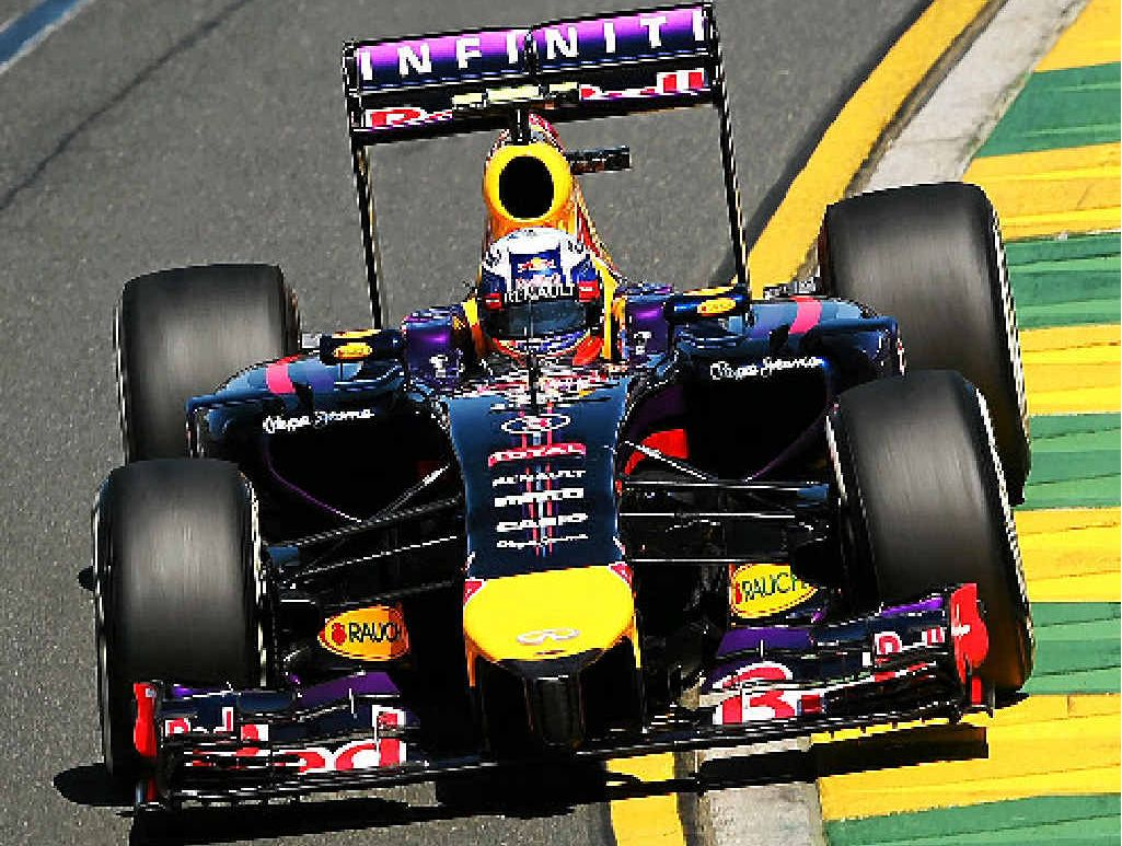 HOME TRACK: Aussie Red Bull driver Daniel Ricciardo during practice at Albert Park yesterday.