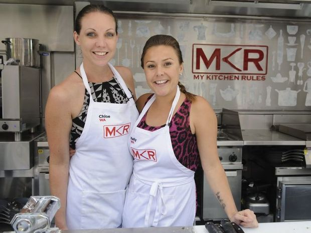 Chloe and Kelly in the MKR food truck.  The girls struggled with their crab pasta.