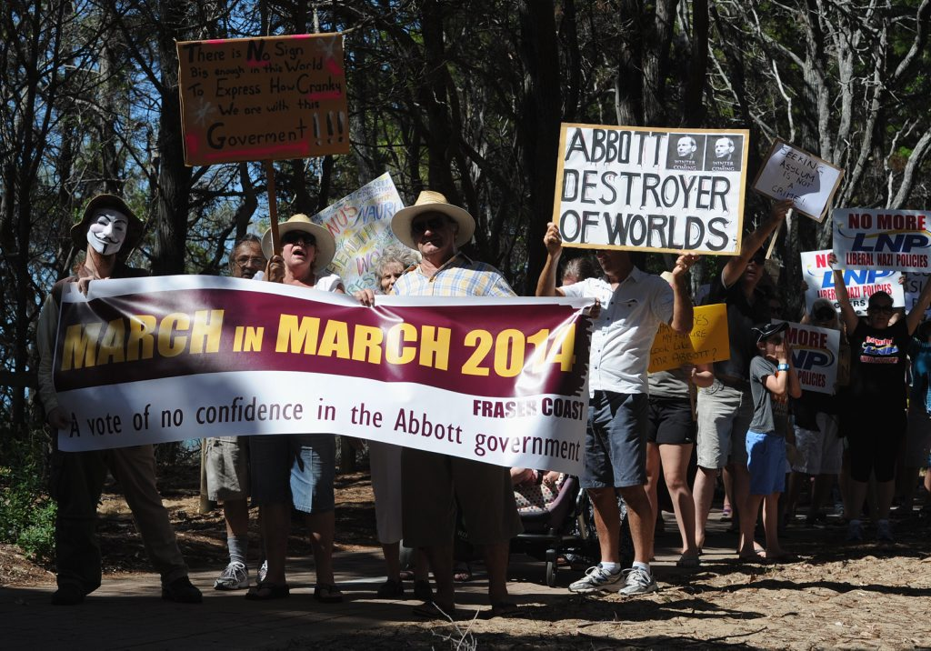 Hervey Bay residents participating in one of the 32 March in March events Australiawide. March in March is a vote of no confidence in the current government.