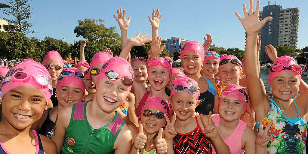 READY TO MAKE THE PLUNGE: Excitement fills the air for entrants in yesterday morning's Superkidz Triathlon at Mooloolaba.