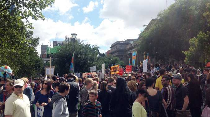 Protesters during the March in March rally, Melbourne, Saturday, March 16, 2014. The rally to protest against the federal government's policy decisions. The movement spawned from a Facebook conversation in January.