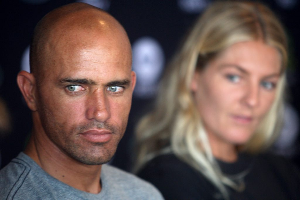 American professional surfer Robert Kelly Slater (born February 11, 1972, Cocoa Beach, FL, USA) and Australian professional surfer and four-time world champion on the Women's ASP World Tour Stephanie Louise Gilmore at the official launch of the 2012 Quiksilver Pro and Roxy Pro at Snapper Rocks, Coolangatta Photo: John Gass / Daily News