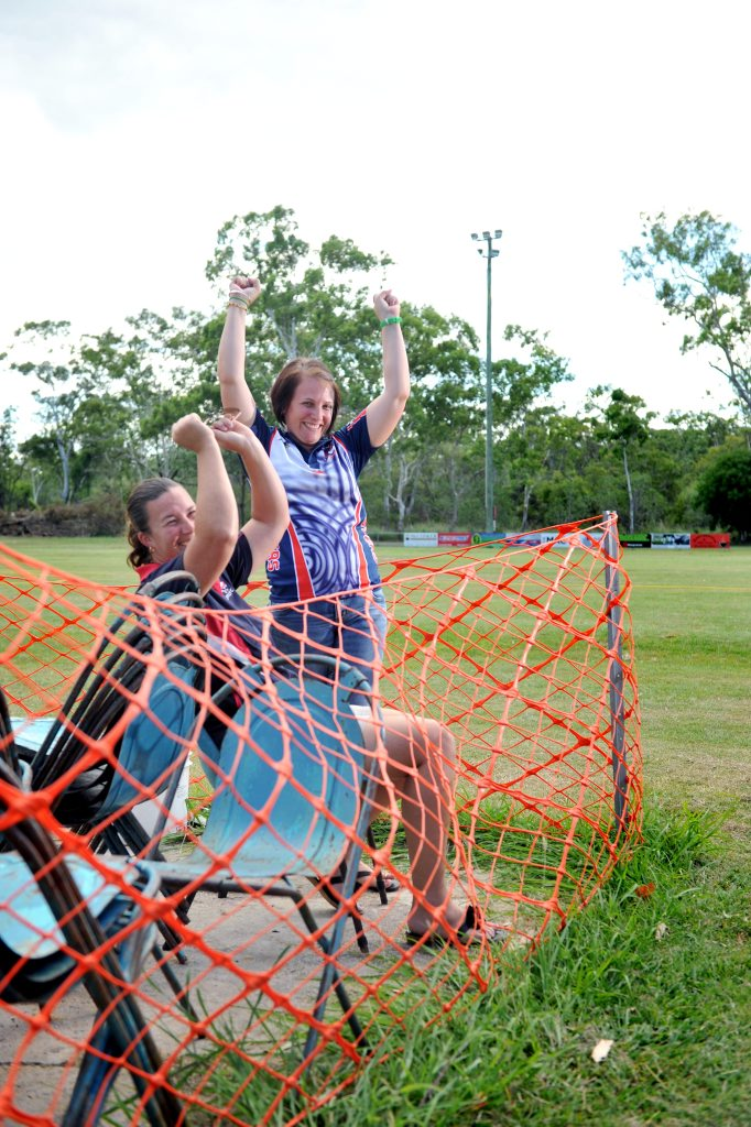 Calliope Roosters Football Club secretary Kerrie Vallis and treasurer Katherine Stringer (left) were ecstatic at the news they would be receiving new goal posts and grand stands for this football season.