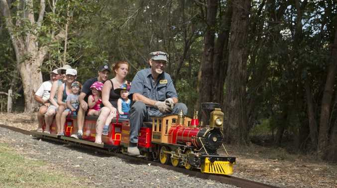 Enjoying a ride at the Toowoomba Live Steamers are (left to right) Crystal and Emmett Quinn, Daniel and Mia Odling, Jessica Little and Brax Ryan.