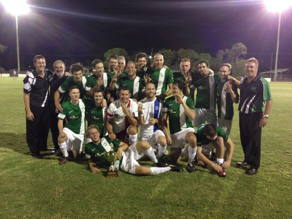 Moore Park Div 1 men celebrating their third-straight Challenge Cup win.