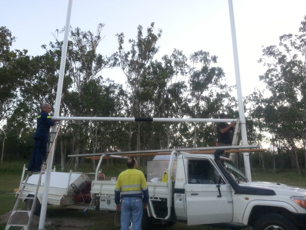 The Calliope Football club erected their new goal posts last week. Photo Contributed
