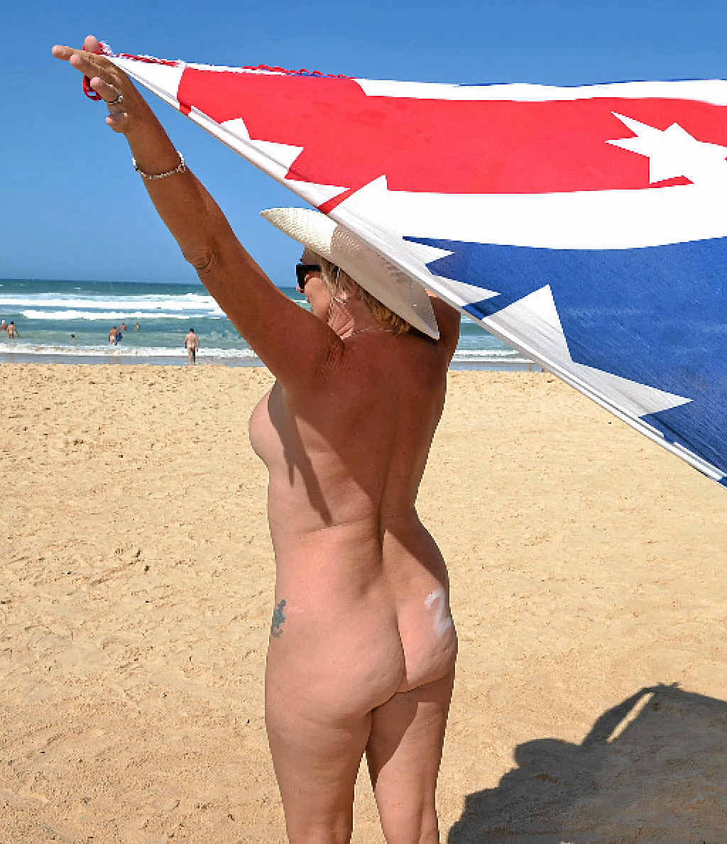 BARING ALL: One attendee flew the flag at Alexandria Bay Beach, Noosa.