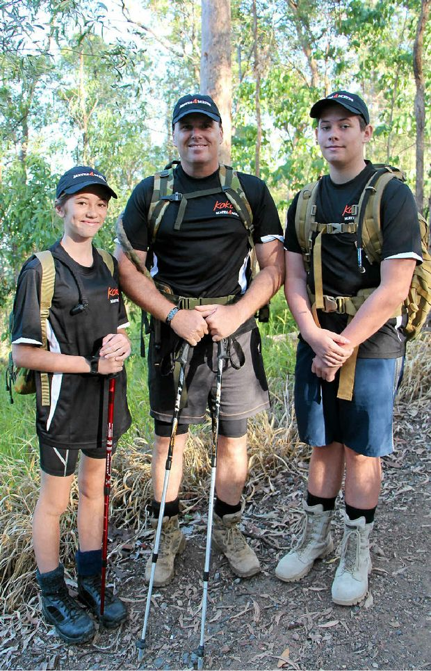 LONG TREK: Dean West and his two children Jake, 16, and Taleah, 13.