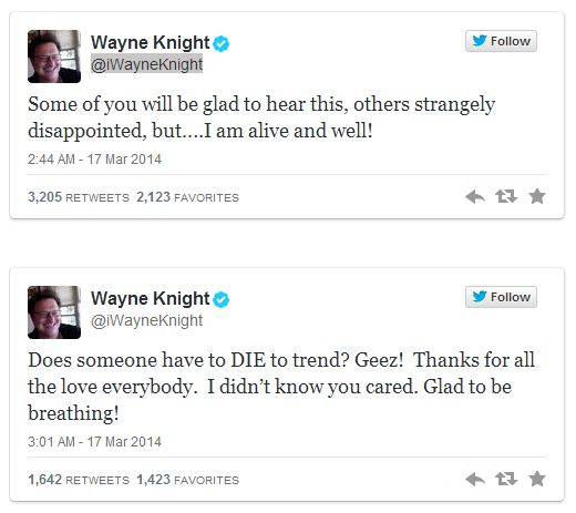 Tweets from Wayne Knight after reports of his death