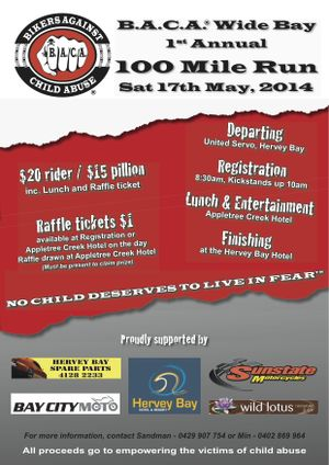 Charity ride to raise money and awareness to assist the victims of child abuse