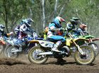 Guy Hinds in the pack going in to the first corner at the Rockhampton Motocross club competition day at the 6 mile course. Photo: Chris Ison / The Morning Bulletin