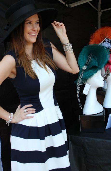 Abby Turner in one of Johanna Guerin's hats. Photo Rachael Murray / The Chronicle