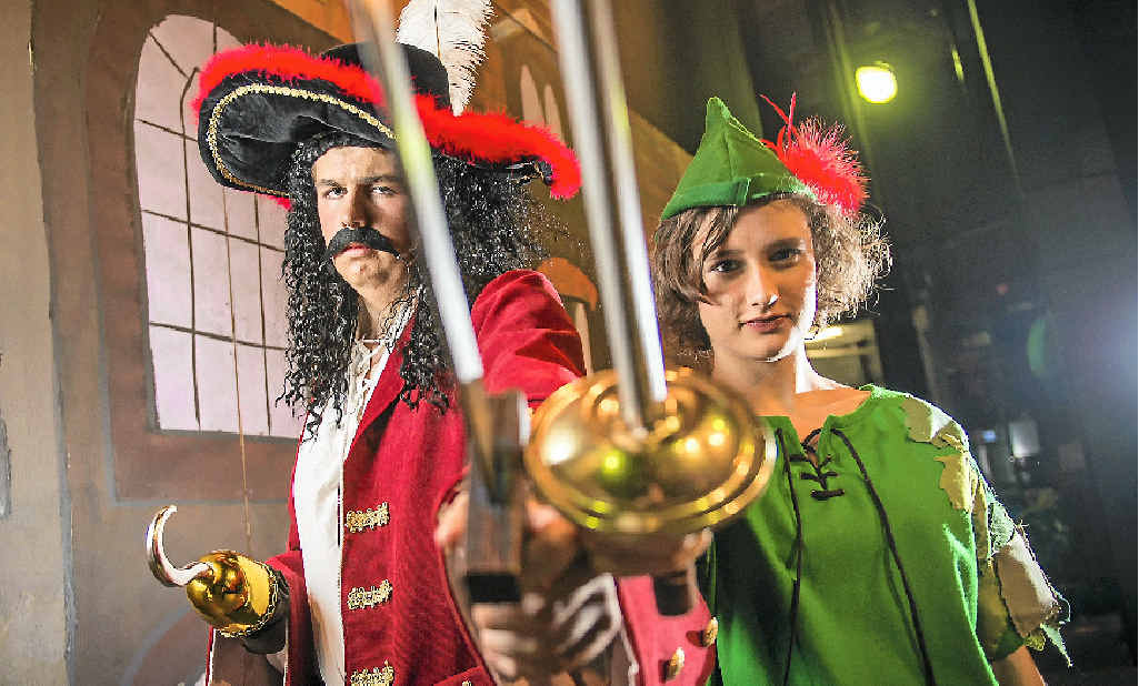 Grace Hocking (right), 16, as Peter and Ben Felix, 16, as Captain Hook.