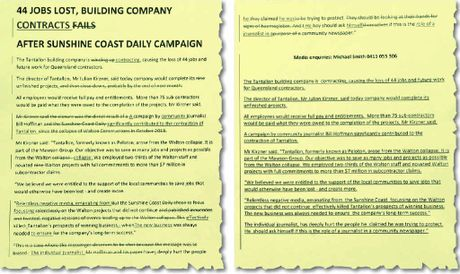 WINDING UP OR SIZING DOWN? The Mawson Group media release showing the changes made during its creation.