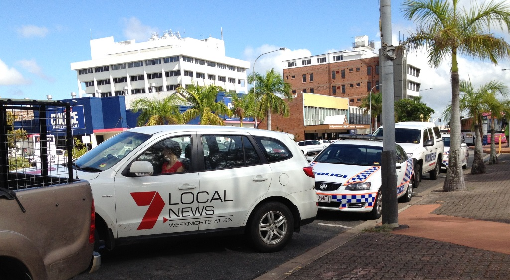 Channel 7 vehicle back in action after sitting in the middle of a siege situation for 12-hours with headlights on.