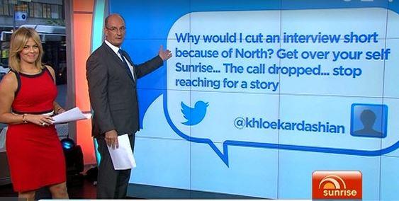Sam Armytage and David Koch discuss Khloe Kardashian's tweet.